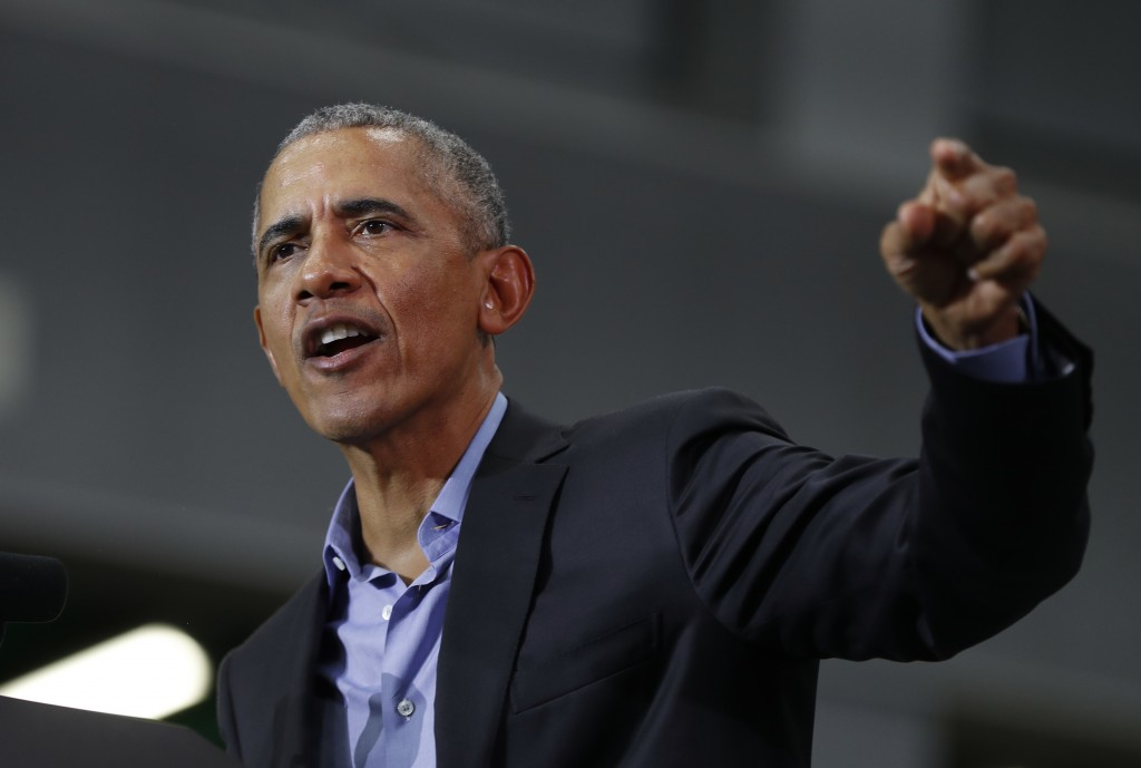 Former President Barack Obama speaks during a rally in Detroit Friday, Oct. 26, 2018. Obama criticized President Donald Trump's tenure in office Frida...