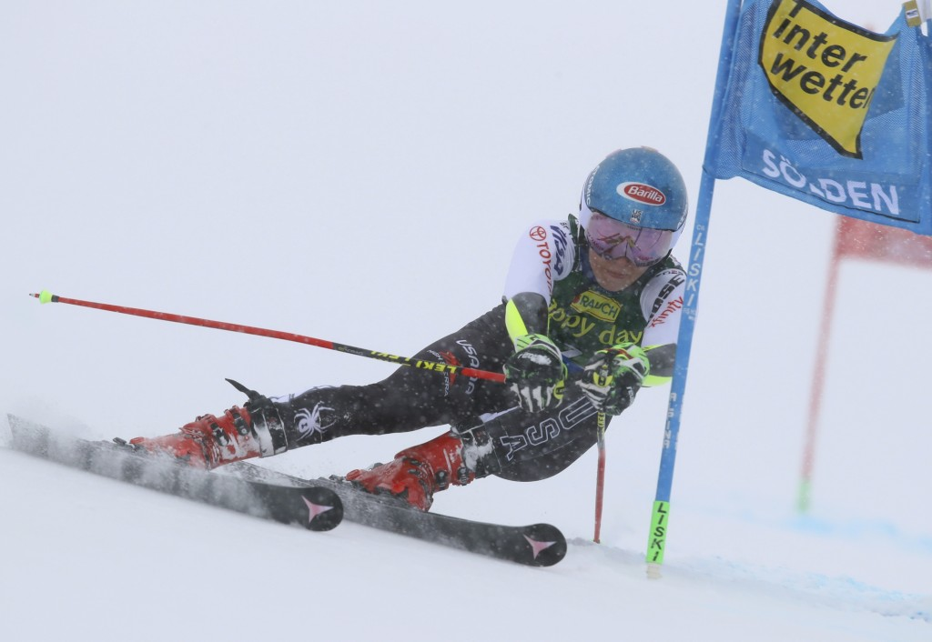 United States' Mikaela Shiffrin competes during the first run of an alpine ski, women's World Cup giant slalom, in Soelden, Austria Saturday, Oct. 27,...