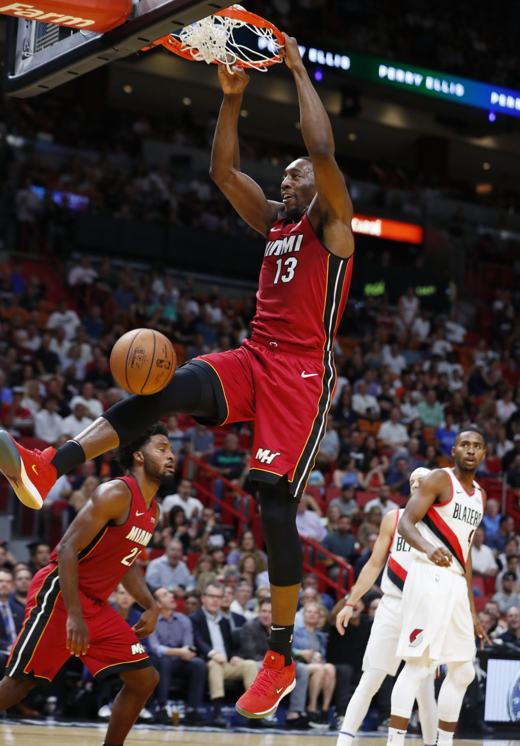 Miami Heat center Bam Adebayo (13) dunks during the first half of an NBA basketball game against the Portland Trail Blazers, Saturday, Oct. 27, 2018, ...