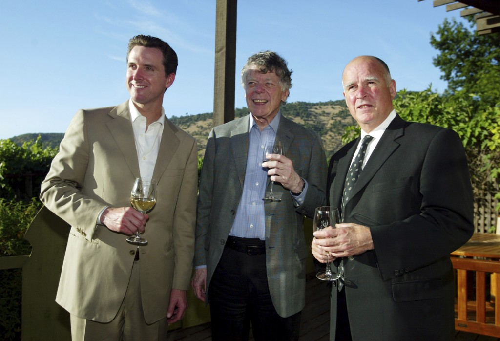 FILE - In this June 3, 2004, file photo San Francisco Mayor Gavin Newsom, left, Gordon Getty, center, and Oakland Mayor Jerry Brown, right, enjoy a pr