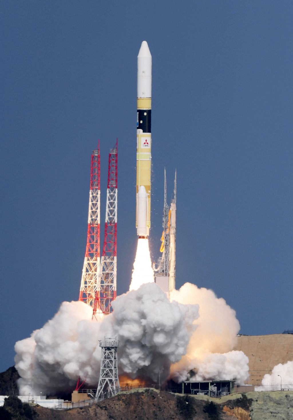 "Japan's rocket H-2A is launched, carrying aboard a green gas observing satellite ""Ibuki-2""  and KhalifaSat, a UAE satellite, Tanegashima, southern Jap..."
