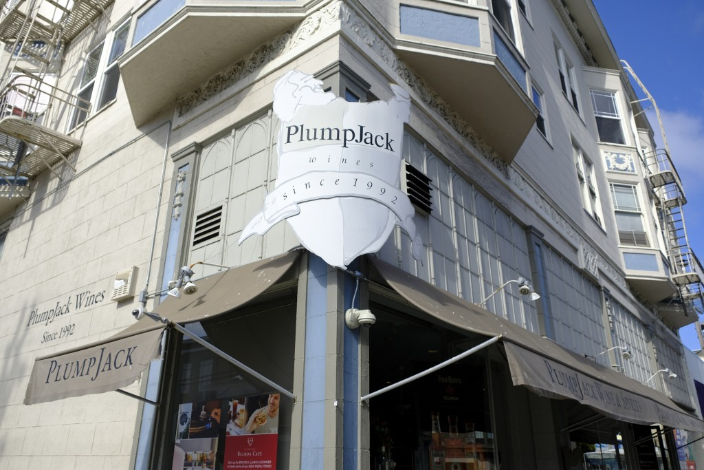 This Monday, Oct. 22, 2018 photo shows the Plumpjack Wine & Spirits store, in San Francisco, part of the Plumpjack Group collection of wineries, bars,