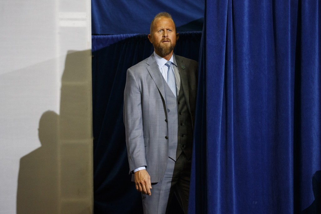 FILE - In this Oct. 22, 2018, file photo, Brad Parscale, campaign manager for President Donald Trump, waits for his arrival during a campaign rally fo...