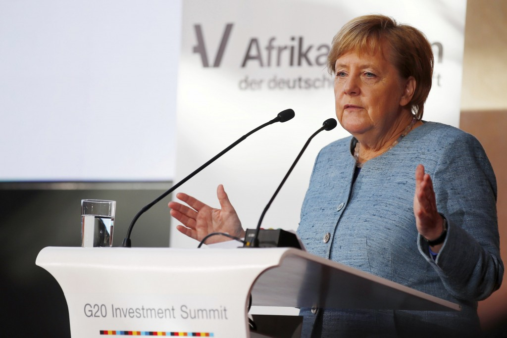 German Chancellor Angela Merkel delivers a speech during the 'G20 Compact with Africa Conference' in Berlin, Germany, Oct. 30, 2018. Chancellor Angela
