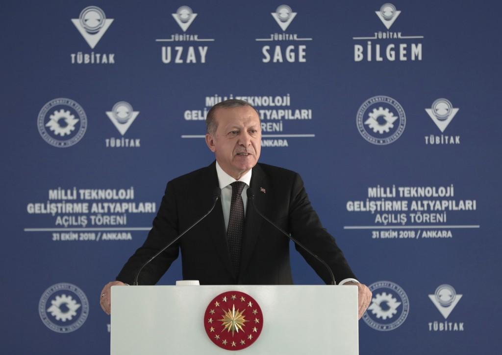 Turkey's President Recep Tayyip Erdogan addresses a defence technology development meeting, in Ankara, Turkey, Wednesday, Oct. 31, 2018. Turkey's stat
