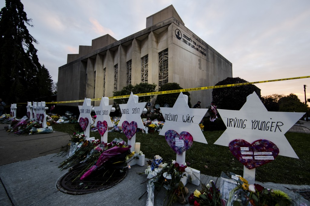 FILE - In this Oct. 29, 2018, file photo, a makeshift memorial stands outside the Tree of Life synagogue in the aftermath of a deadly shooting at the