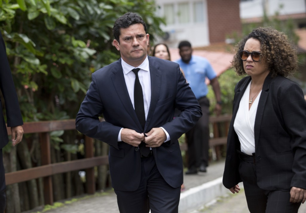 Judge Sergio Moro leaves a meeting with President-elect Jair Bolsonaro, outside Bolsonaro's home in Rio de Janeiro, Brazil, Thursday, Nov. 1, 2018. Bo...