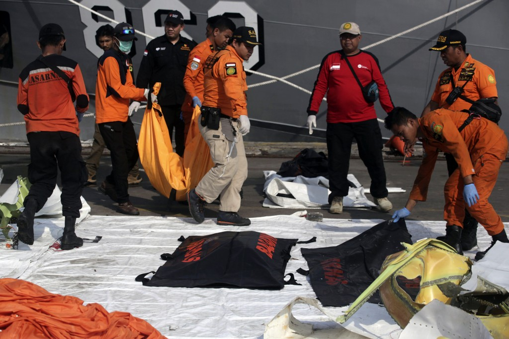 Rescuers carry body bags containing the remains of the victims of Lion Air crash at Tanjung Priok Port in Jakarta, Indonesia, Friday, Nov. 2, 2018. Ne
