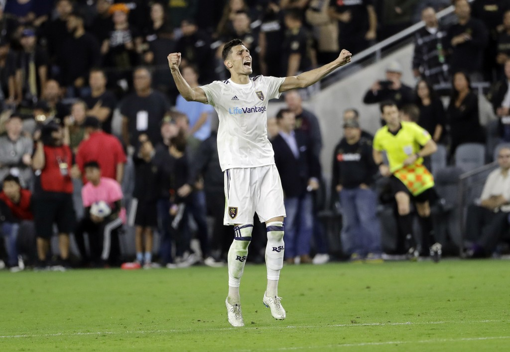 Real Salt Lake's Damir Kreilach celebrates after the final whistle during the team's MLS soccer playoff match against Los Angeles FC Thursday, Nov. 1,