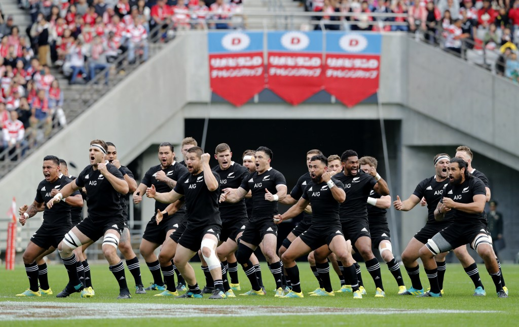 The All Blacks perform a haka prior to the start of their rugby test against Japan at the Ajinomoto Stadium in Tokyo, Japan, Saturday, Nov. 3, 2018. (