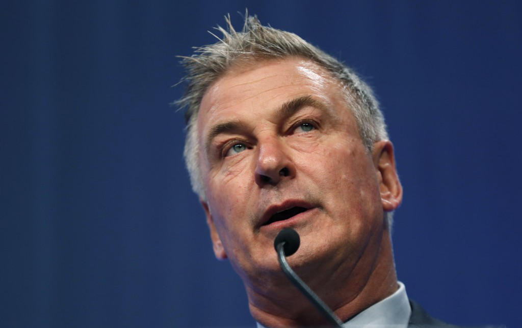 FILE - In this Nov. 27, 2017, file photo, actor Alec Baldwin speaks during the Iowa Democratic Party's Fall Gala in Des Moines, Iowa. Baldwin has been