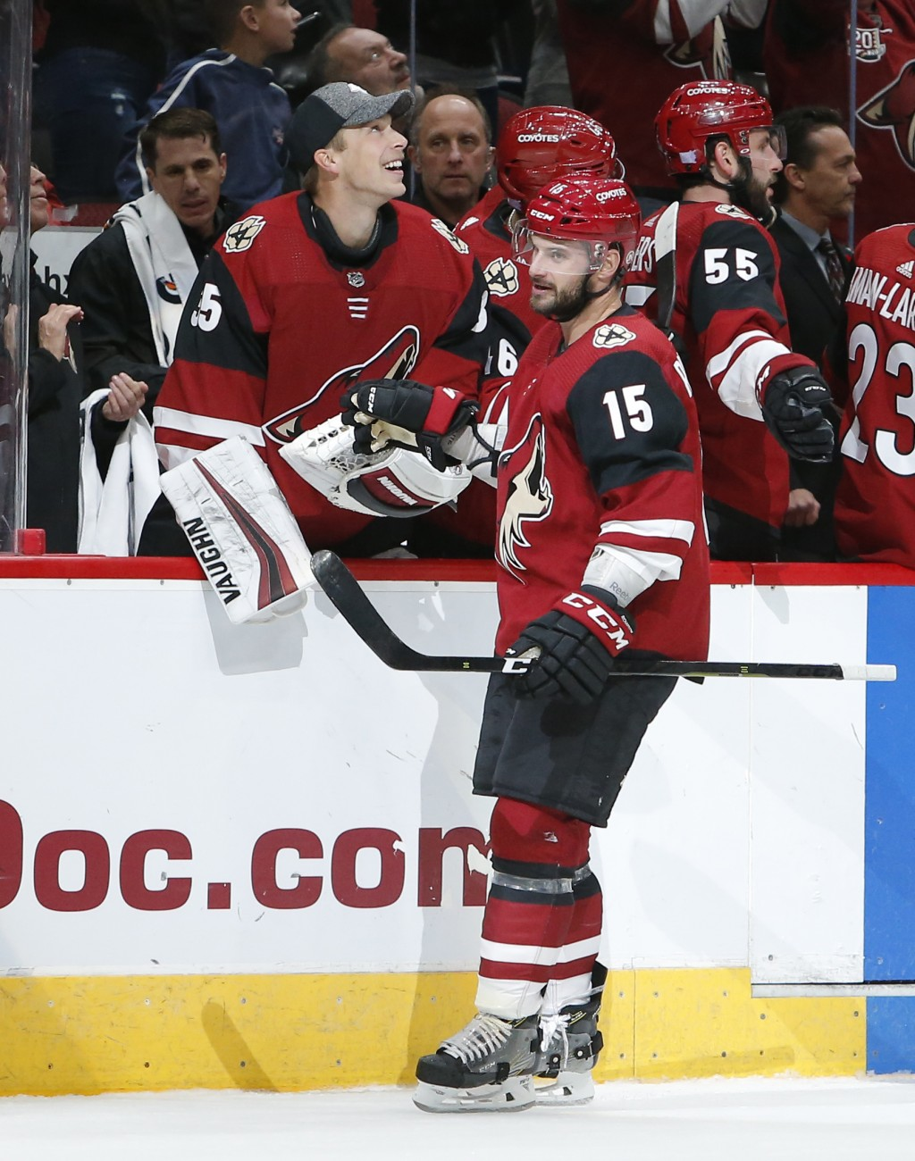 Arizona Coyotes center Brad Richardson (15) celebrates with teammates after scoring a goal against the Carolina Hurricanes during the first period of ...