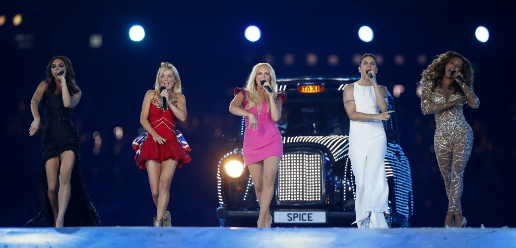 FILE - In this Sunday, Aug. 12, 2012 file photo, British band 'The Spice Girls' perform during the Closing Ceremony at the 2012 Summer Olympics, in Lo