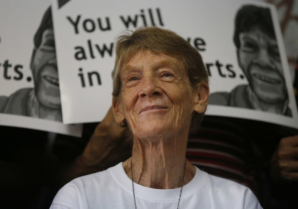 Australian Roman Catholic nun Sister Patricia Fox reacts during a news conference before her departure for Australia Saturday, Nov. 3, 2018, in Manila...