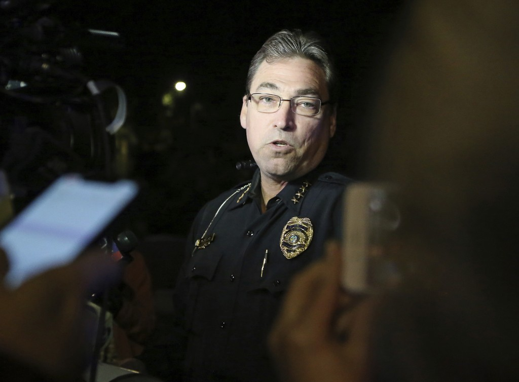 Tallahassee police chief Michael DeLeo speaks to the press at the scene of a shooting, Friday, Nov. 2, 2018, in Tallahassee, Fla. A shooter killed one...