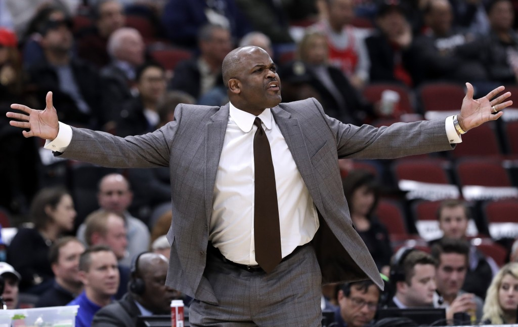 Indiana Pacers head coach Nate McMillan reacts to a call during the first half of an NBA basketball game against the Chicago Bulls, Friday, Nov. 2, 20