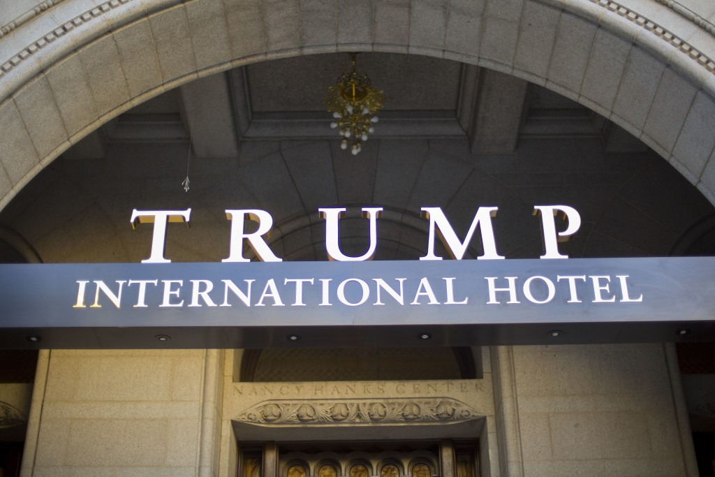 FILE - This Monday, Sept. 12, 2016, file photo, shows the exterior of the Trump International Hotel in downtown Washington. A federal judge denied the