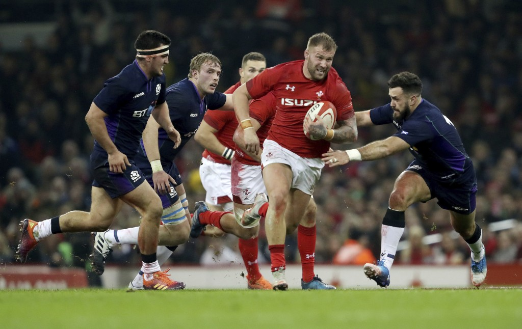 Wales' Ross Moriarty breaks through during the rugby union international match against Scotland at The Principality Stadium, Cardiff, Wales, Saturday ...