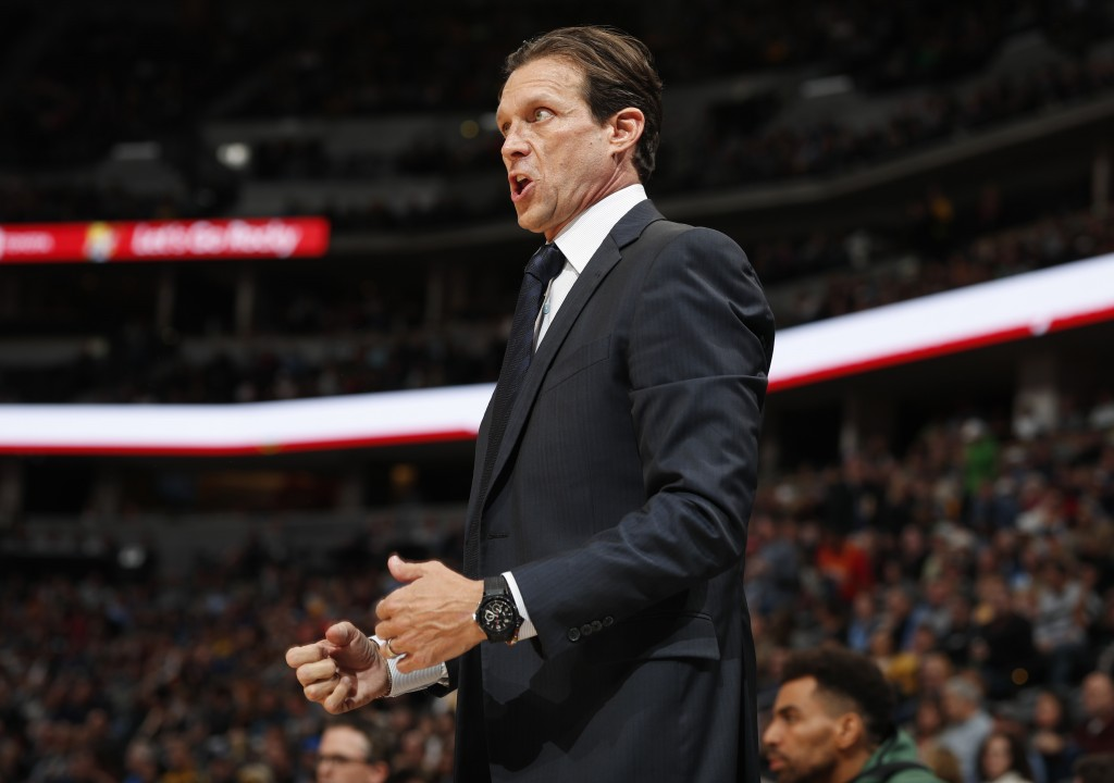 Utah Jazz coach Quin Snyder directs his team against the Denver Nuggets during the first half of an NBA basketball game Saturday, Nov. 3, 2018, in Den...