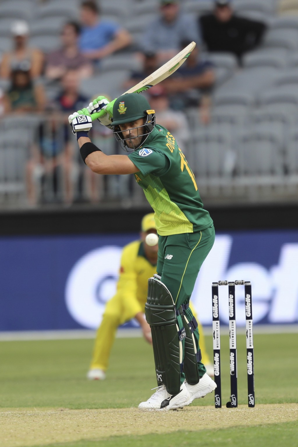 South Africa's Faf du Plessis plays a shot from Australia's Josh Hazlewood during their one-day international cricket match in Perth, Sunday, Nov. 4, ...