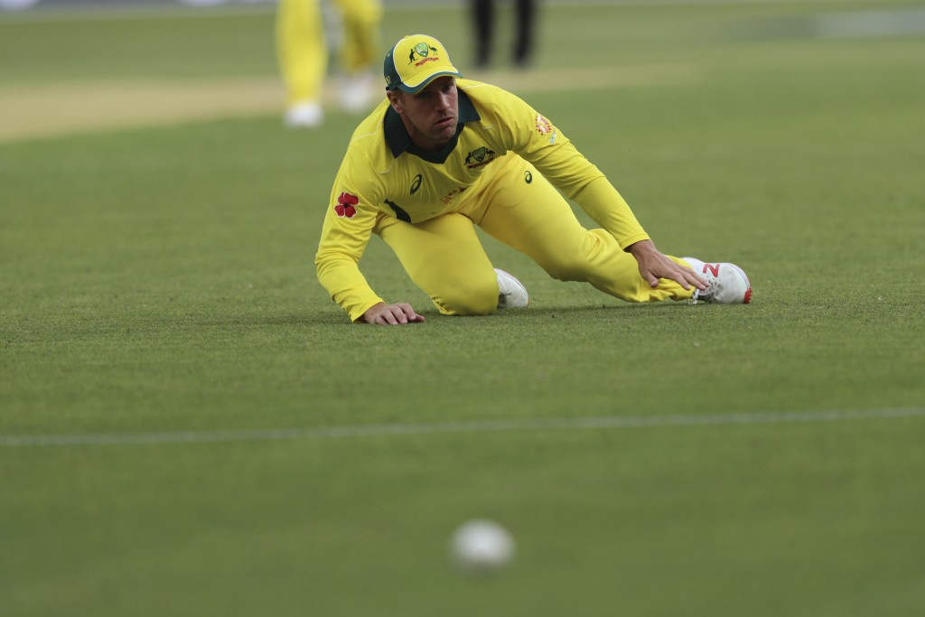 Australia's Aaron Finch watches a ball from South Africa's Reeza Hendricks run to the boundary after he missed a catch during their one-day internatio...