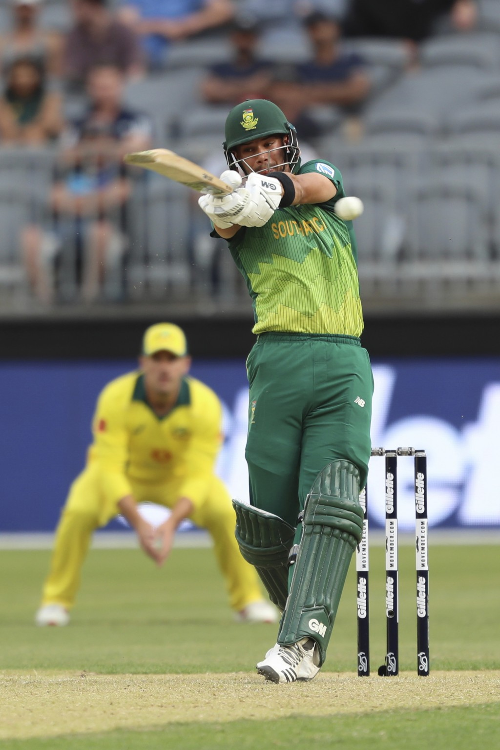 South Africa's Aiden Markram plays a shot from Australia's Josh Hazlewood during their one-day international cricket match in Perth, Sunday, Nov. 4, 2