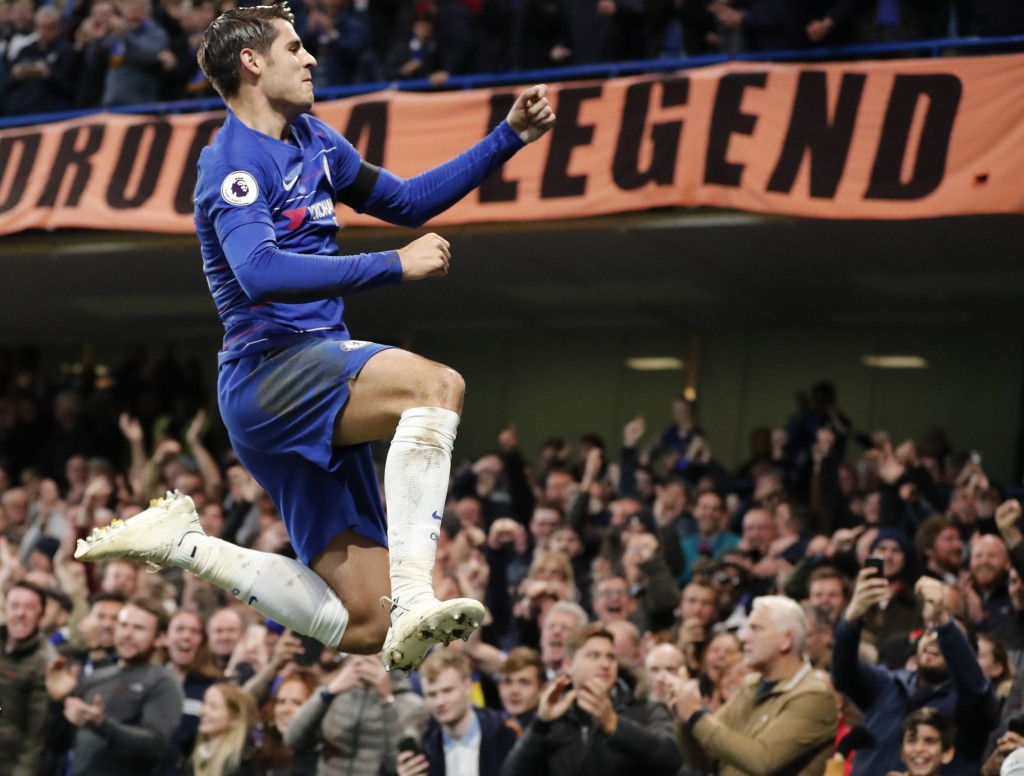 Chelsea's Alvaro Morata celebrates after scoring the opening goal during the English Premier League soccer match between Chelsea and Crystal Palace at...