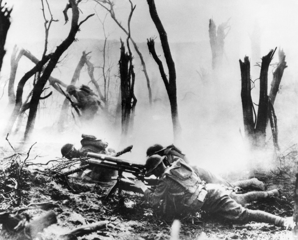 FILE  - In this Sept. 26, 1918 file photo, a U.S .Army 37-mm gun crew man their position during the World War One Meuse-Argonne Allied offensive in Fr
