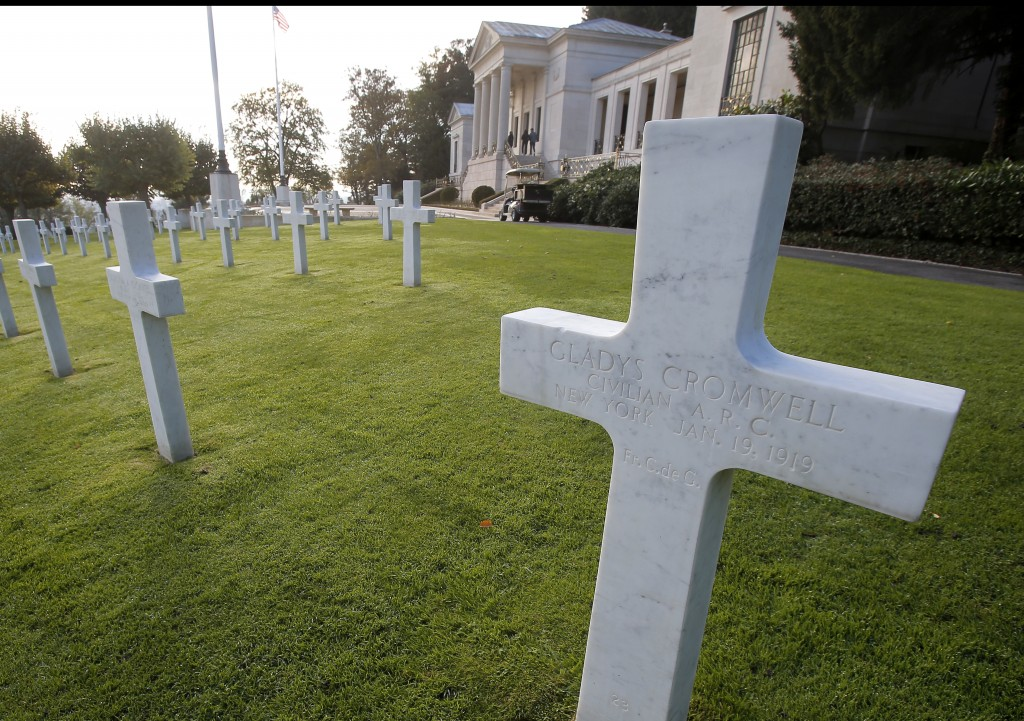 FILE - In this file photo taken on Friday, Nov. 2, 2018, the graves of US nurses Dorothy Cromwell, left, and Gladys Cromwell, right, at the American C