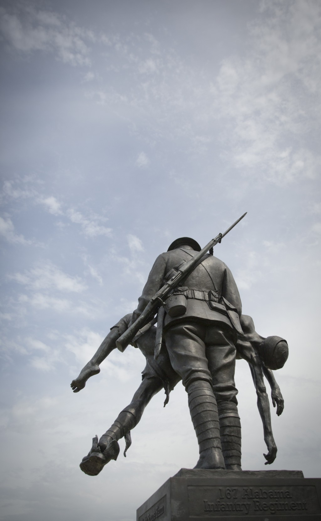 FILE  - In this Saturday, May 26, 2018 file photo, a view of the U.S. 42nd Division monument at Fere-en-Tardenois France. The memorial, a bronze sculp