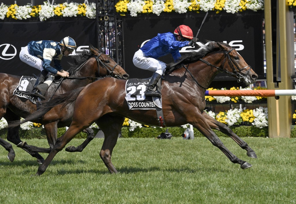 In this Tuesday, Nov. 6, 2018, file photo, Cross Counter with jockey Kerrin McEvoy on board, right, wins the Melbourne Cup ahead of second placed Marm