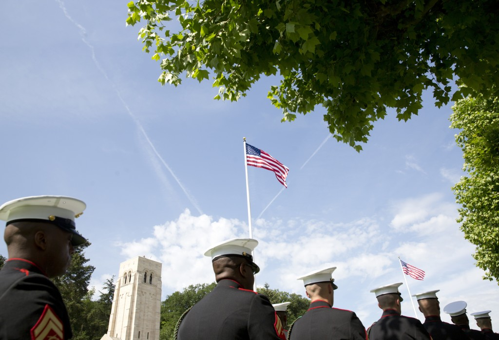 FILE In this Sunday, May 27, 2018 file photo, US Marines march during a Memorial Day commemoration at the Aisne-Marne American Cemetery in Belleau, Fr