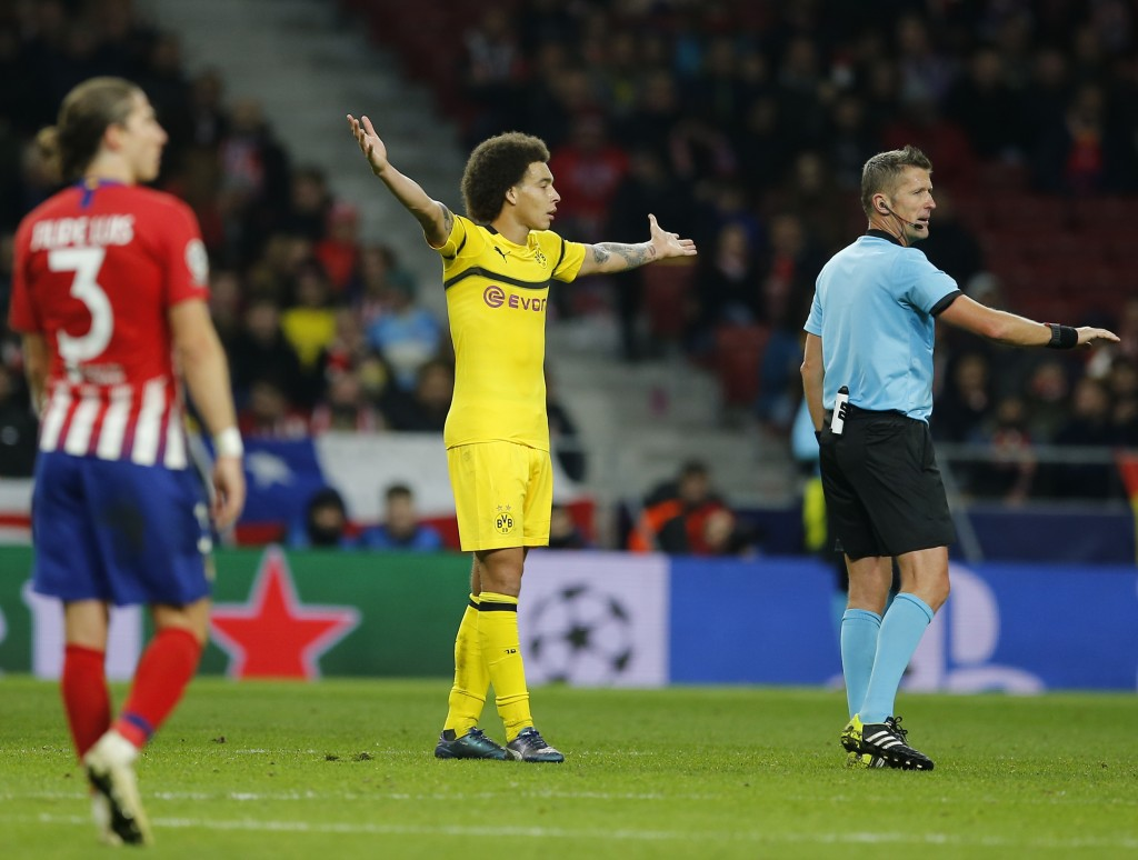 Borussia Dortmund's Axel Witsel reacts during the Group A Champions League soccer match between Atletico Madrid and Borussia Dortmund at Wanda Metropo...