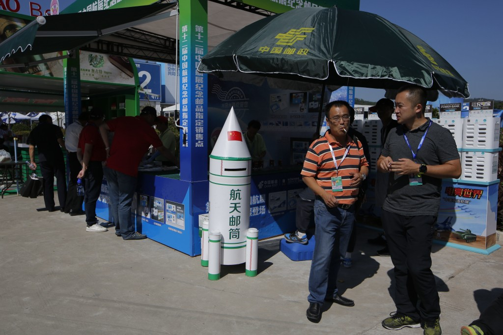 A rocket shape post box is displayed during the 12th China International Aviation and Aerospace Exhibition, also known as Airshow China 2018, Tuesday ...