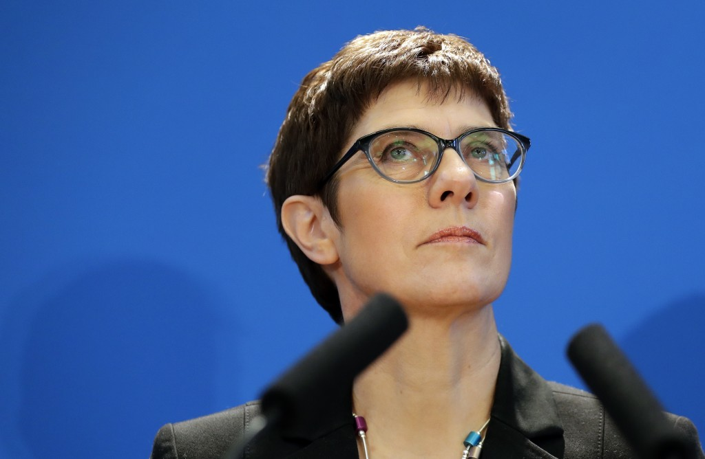 Annegret Kramp-Karrenbauer, General Secretary of the German Christian Democratic Union (CDU) party, addresses the media during a press conference in B