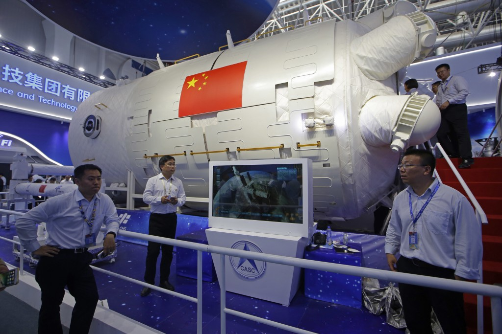 A model of Chinese module of space station is displayed during the 12th China International Aviation and Aerospace Exhibition, also known as Airshow C...