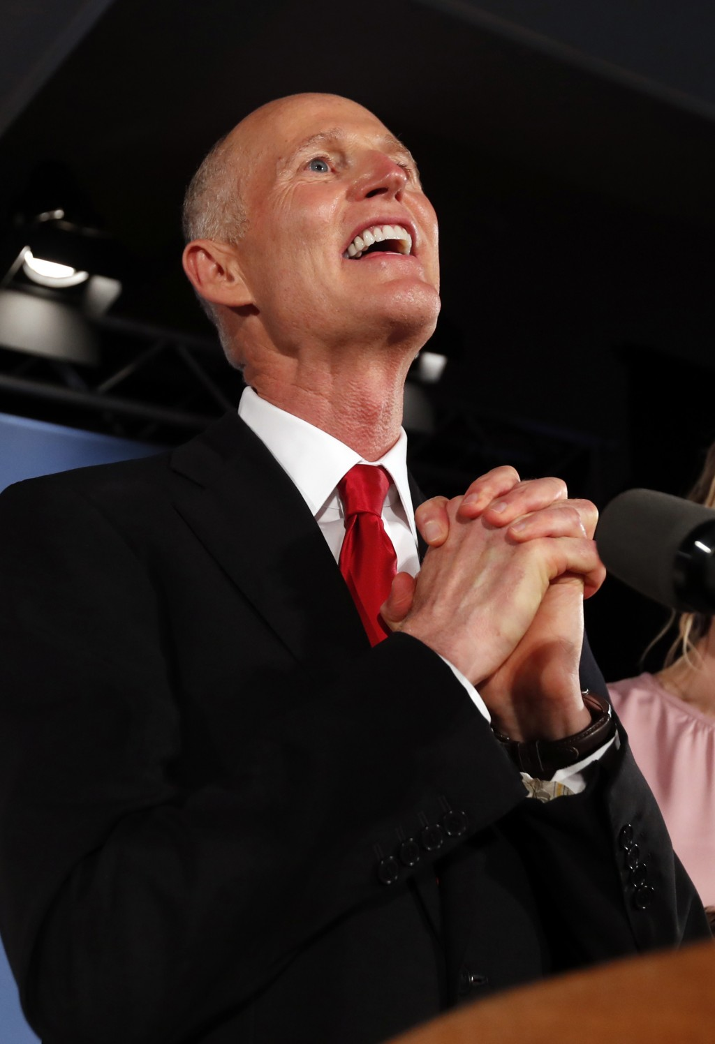 Republican Senate candidate Rick Scott speaks to supporters at an election watch party, Wednesday, Nov. 7, 2018, in Naples, Fla. (AP Photo/Wilfredo Le...