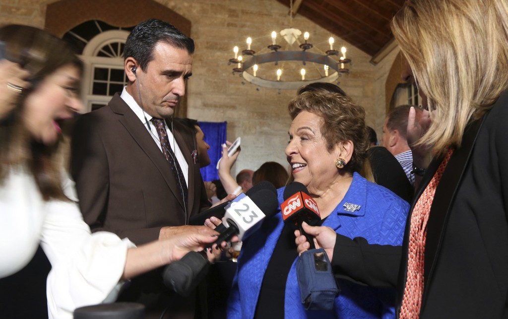 Congressional District 27 Democratic candidate Donna Shalala is interviewed following her victory over Republican television journalist Maria Elvira S...