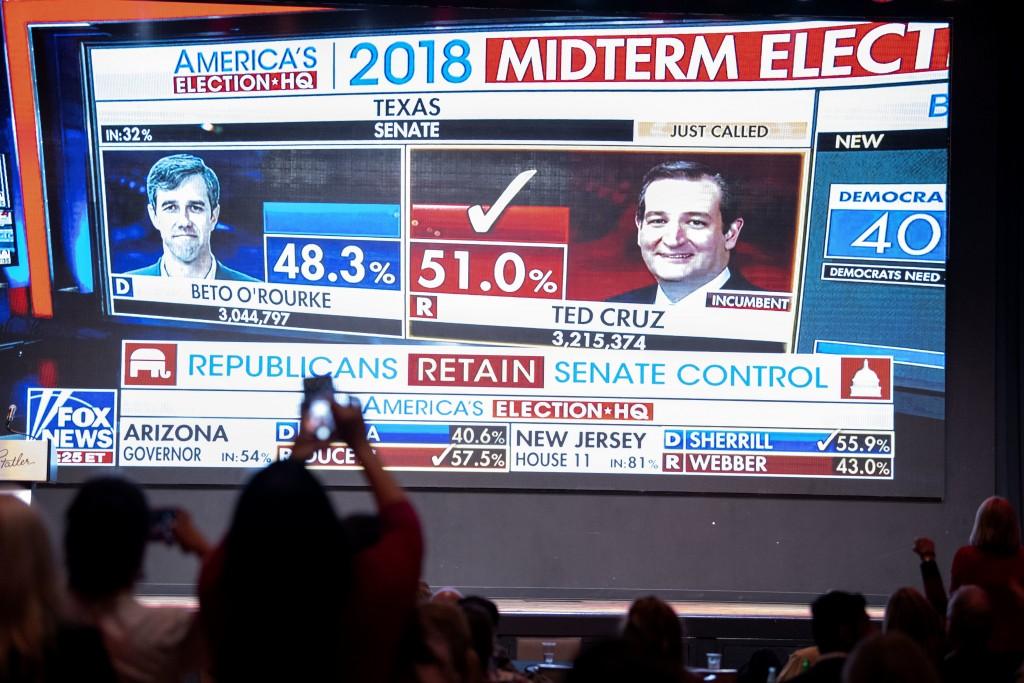 Fox News announces U.S. Sen. Ted Cruz, R-Texas, as the winner over challenger Rep. Beto O'Rourke, D-Texas, during the Dallas County Republican Party e...