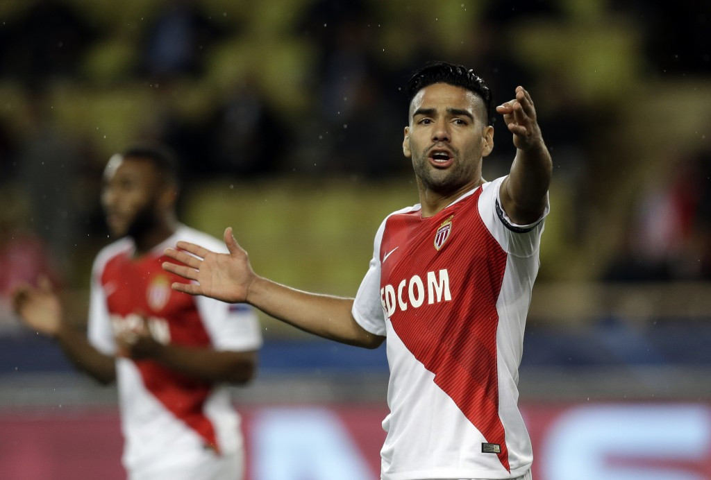 Monaco forwarder Radamel Falcao gestures during the Champions League Group A soccer match between Monaco and Club Brugge at the Louis II stadium in Mo