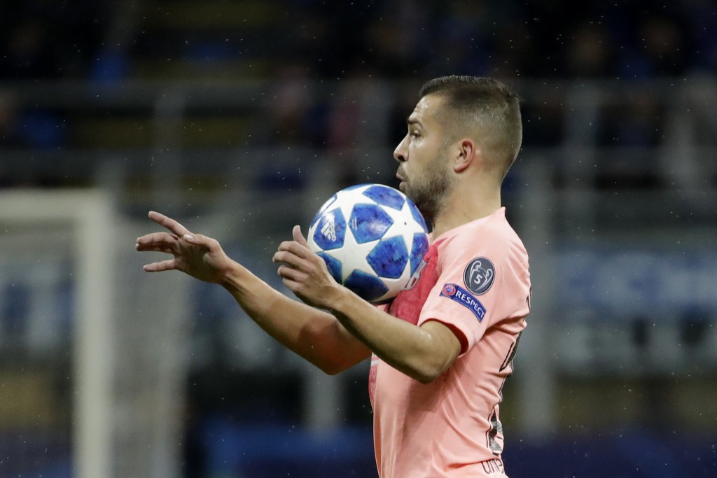 Barcelona defender Jordi Alba controls the ball during the Champions League group B soccer match between Inter Milan and Barcelona at the San Siro sta
