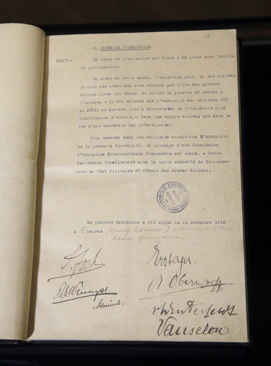 This Tuesday, Oct. 30, 2018 photo shows the Armistice document signed by the Allies and the Germans in a carriage in Rethondes, north of Paris, at 05:...