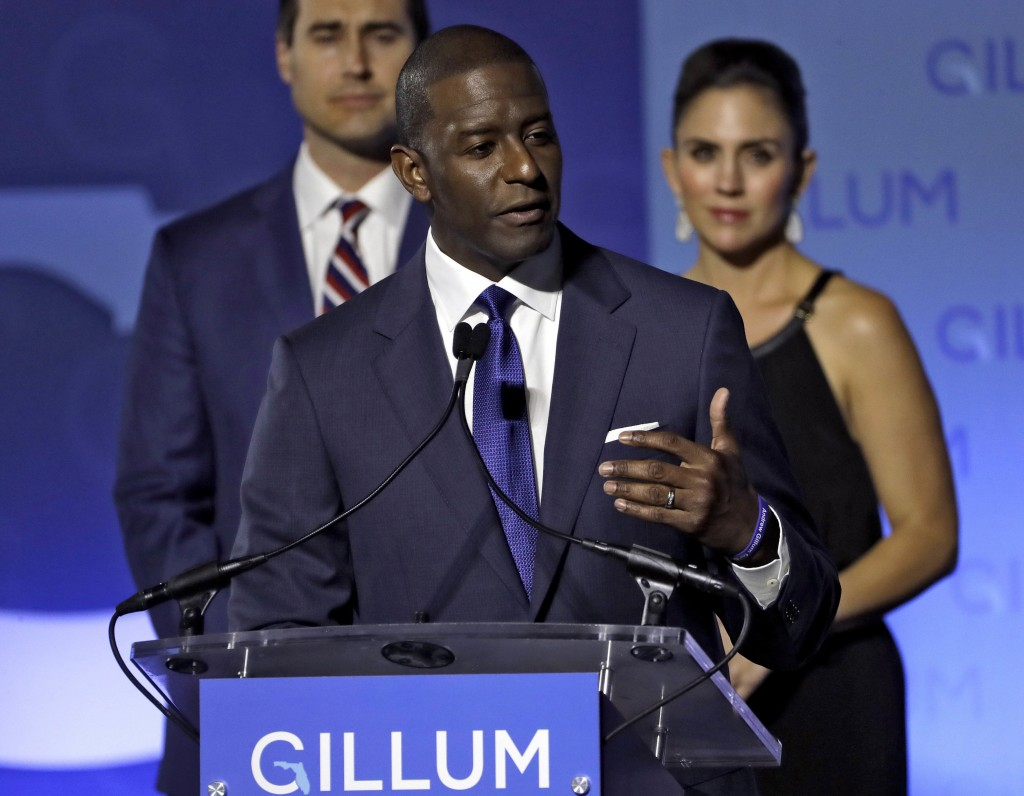 Florida Democratic gubernatorial candidate Andrew Gillum gives his concession speech Tuesday, Nov. 6, 2018, in Tallahassee, Fla. Gillum lost to Republ...