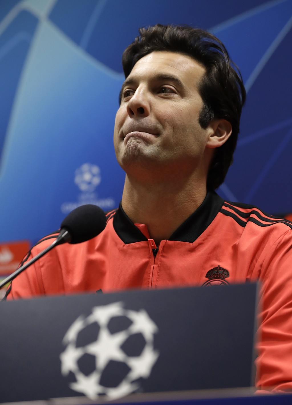 Real coach Santiago Solari attends a press conference at the Doosan arena in Pilsen, Czech Republic, Tuesday, Nov. 6, 2018. Viktoria Plzen faces Real