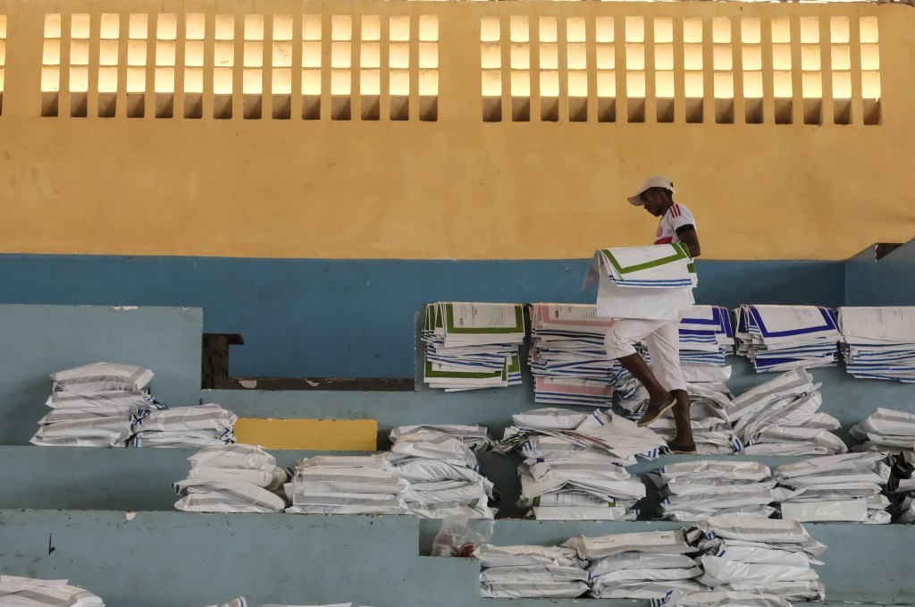 Ballots are stored at a centre in Antananarivo, Madagascar, Thursday, Nov. 8, 2018, a day after Madagascans cast their votes. Vote counting started We...