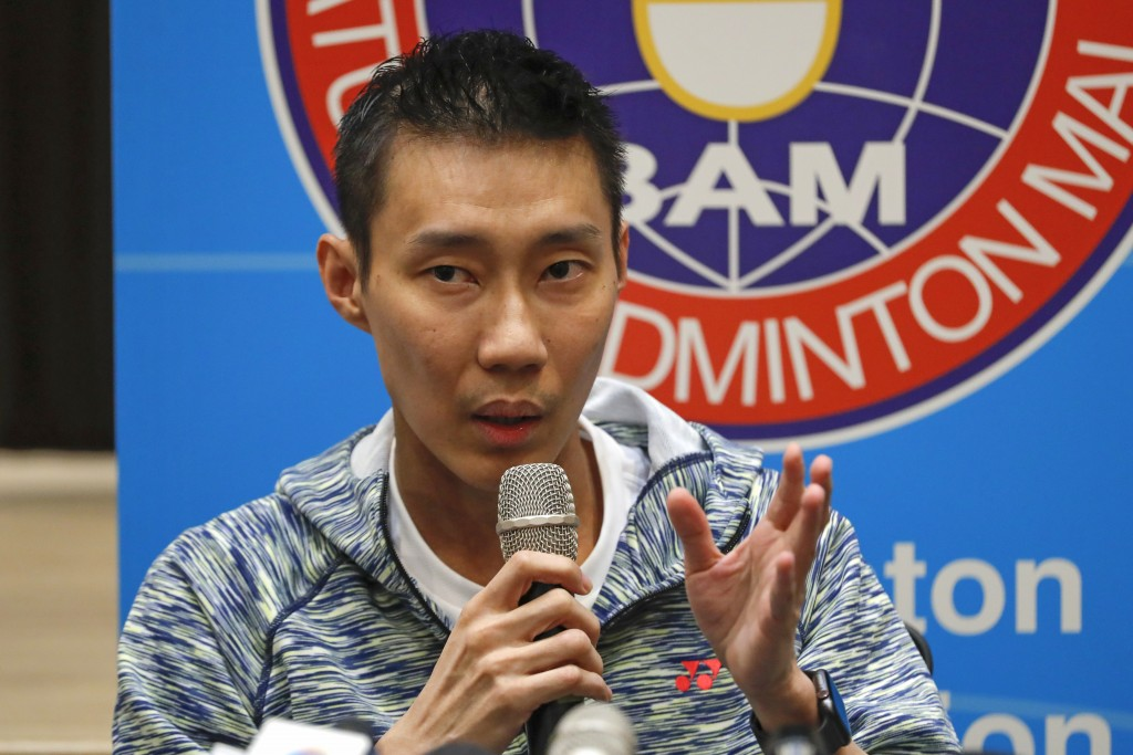 Former world No. 1 badminton player Lee Chong Wei from Malaysia speaks during a press conference in Kuala Lumpur, Malaysia, Thursday, Nov. 8, 2018. Ch