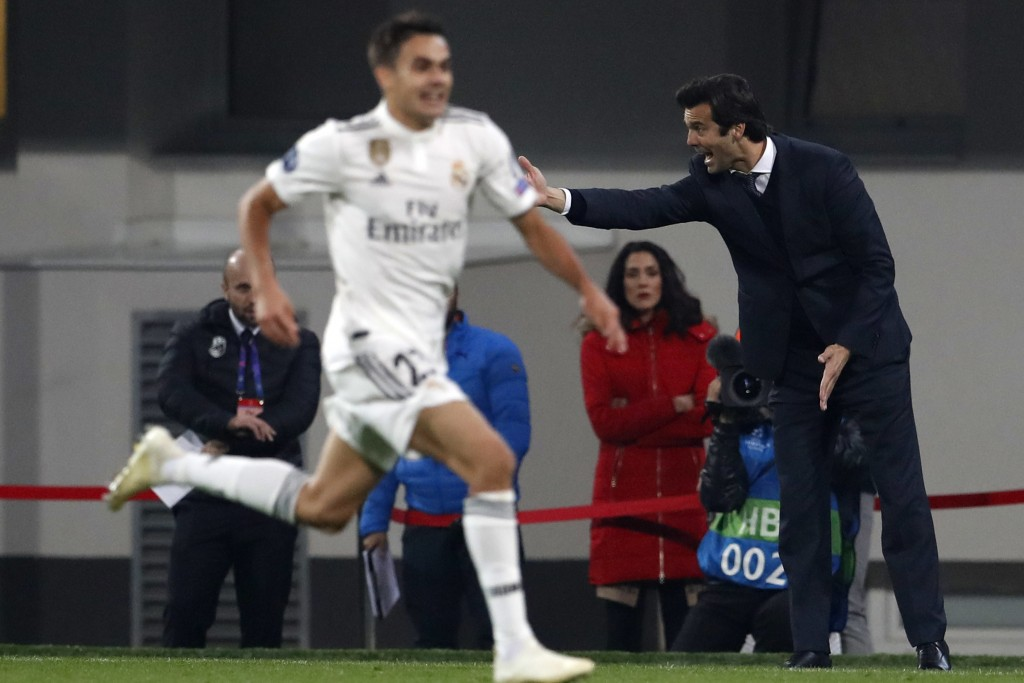 Real coach Santiago Solari gives instructions from the side line during the Champions League group G soccer match between Real Madrid and Viktoria Plz...