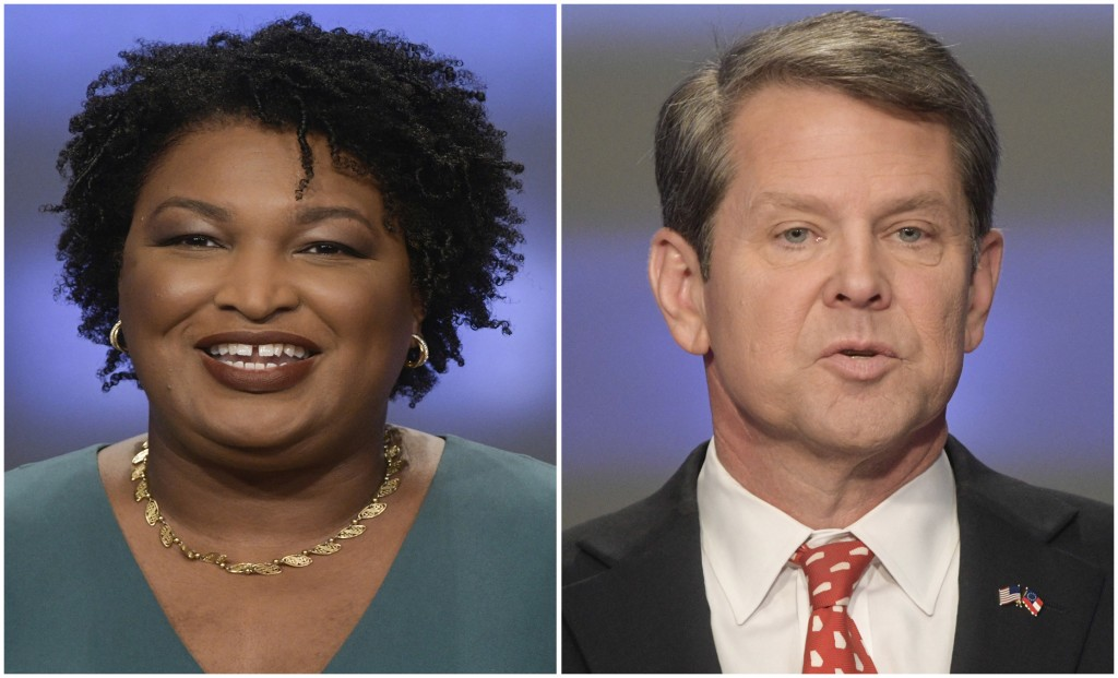 This combination of May 20, 2018, photos shows Georgia gubernatorial candidates Stacey Abrams, left, and Brian Kemp in Atlanta.  Democrats and Republi