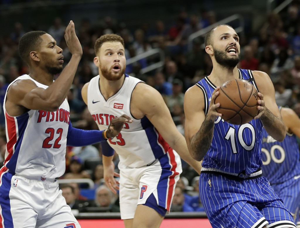 Orlando Magic's Evan Fournier (10) looks for a shot as he gets past Detroit Pistons' Glenn Robinson III (22) and Blake Griffin (23) during the first h...