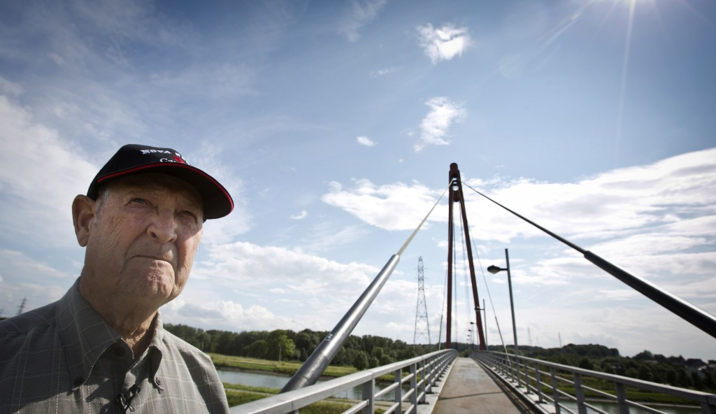 FILE  - In this Saturday, Aug. 3, 2014 file photo, George Barkhouse, 84, from Nova Scotia, Canada, looks out to where his uncle, World War I soldier P